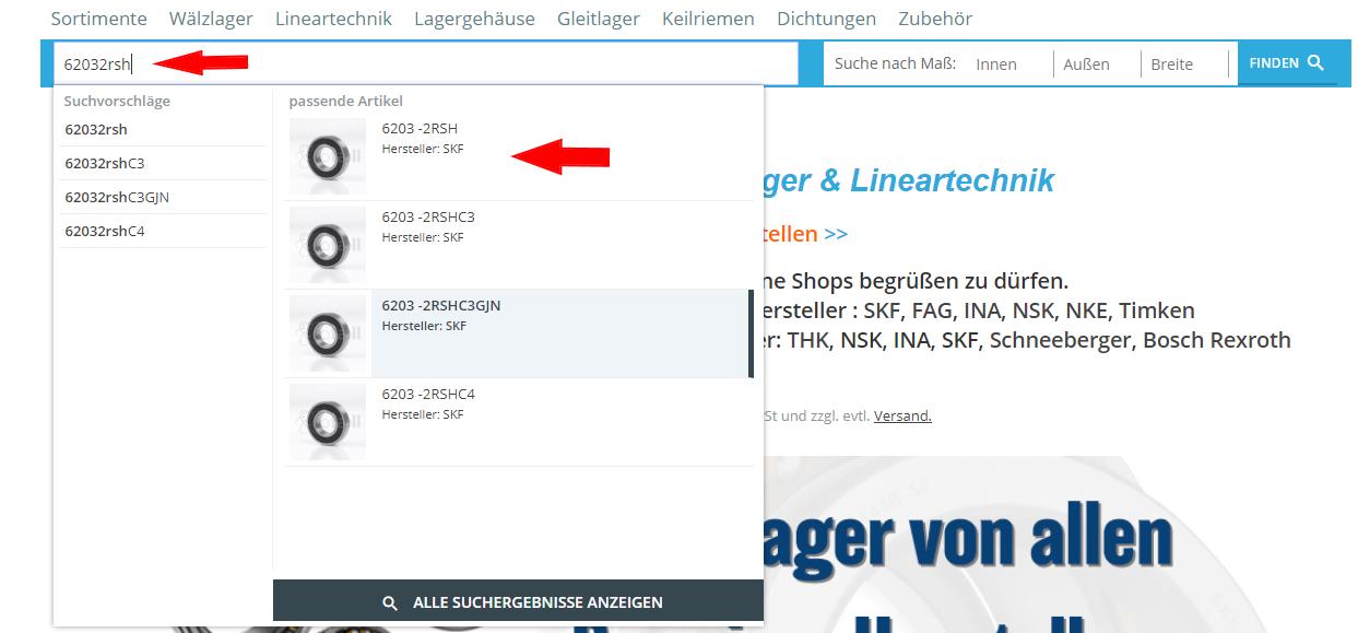 Suche 6203 -2RSH